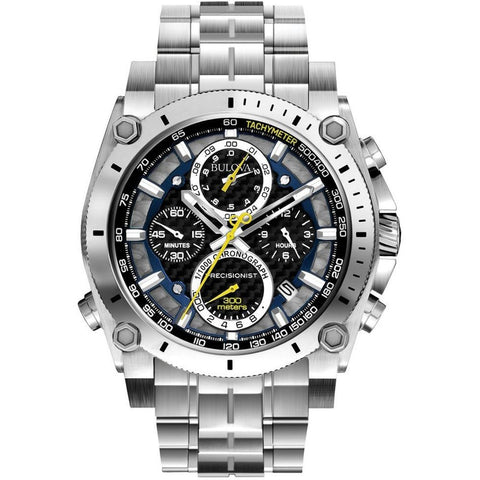 Bulova 96B175 Precisionist Analog Display Chronograph Quartz Watch, Silver Stainless Steel Band, Round 46.5mm Case