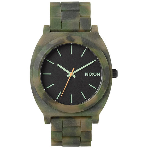 Nixon A3271428 Men's Time Teller Acetate Matte Black/Camo Analog Watch, Green Acetate Band, Round 38mm Case