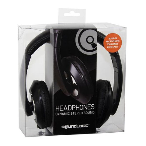 SoundLogic XT Stereo Headphones with Built-In Microphone - Black