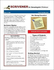 Quick Sheet: SCRIVENER for Genealogists