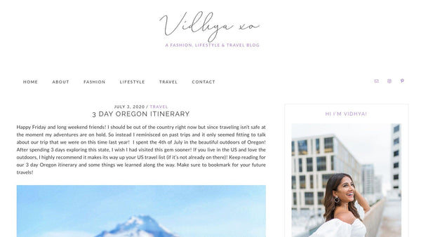 Travel Blog - Vidhya xo - Portland Gear
