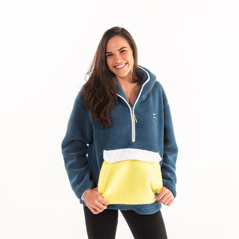 Color Block Hooded Sherpa