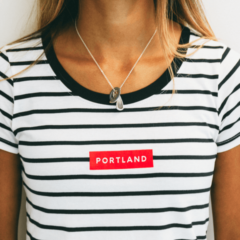 Women's Block Stripe Tee - Portland Gear