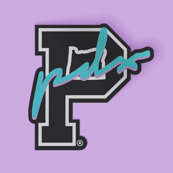 "Retro Script ""P"" Sticker"