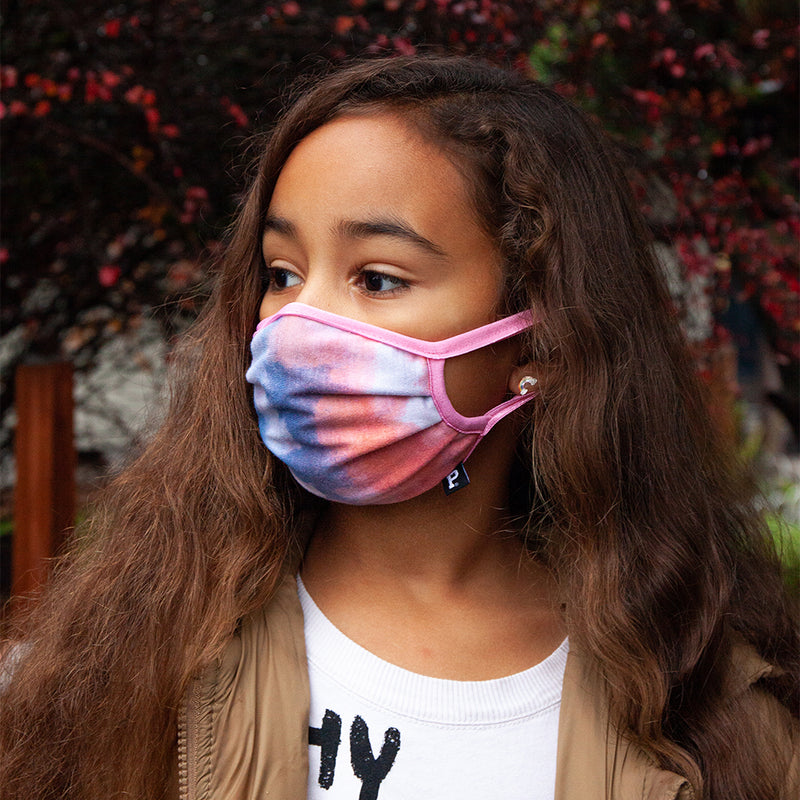 Youth Pink Tie Dye Face Mask - Made in PDX