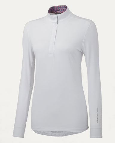 Victoria Long Sleeve Pull on Show Shirt in White/Coral Geo | Noble ...