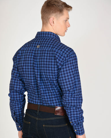 Generations Fit L/S Shirt in Dark Navy Plaid
