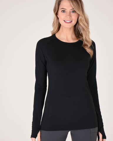 Hailey Long Sleeve Crew in Black