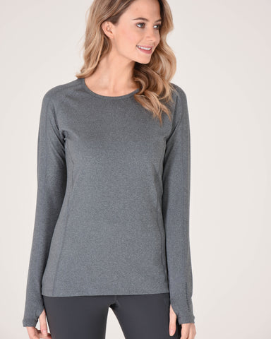 Hailey Long Sleeve Crew in Heather Grey