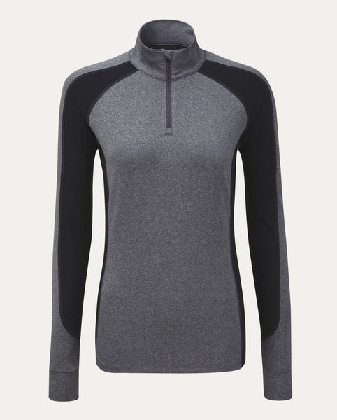 Lauren 1/4 Zip Mock in Charcoal