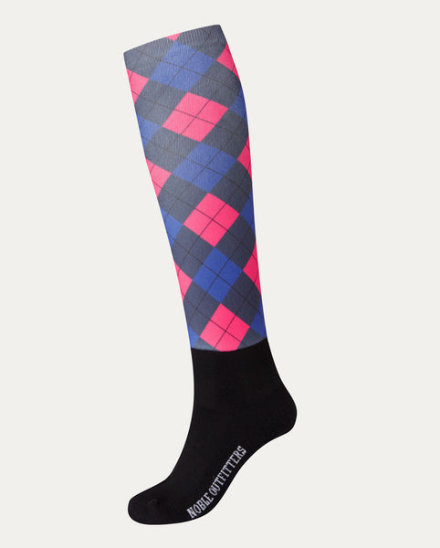 Women's Printed Over The Calf Peddies in Vivacious Argyle