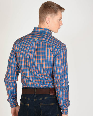 Traditions L/S Shirt in Bold Orange & Blue Plaid