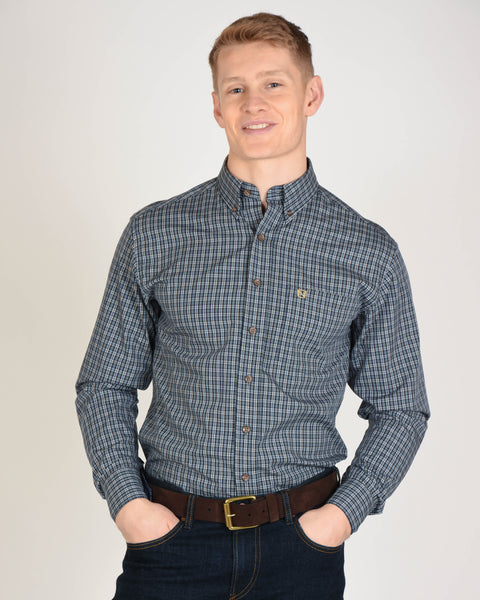 Traditions L/S Shirt in Midnight Plaid