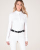 Victoria Long Sleeve Pull on Show Shirt in White/ Running Horses