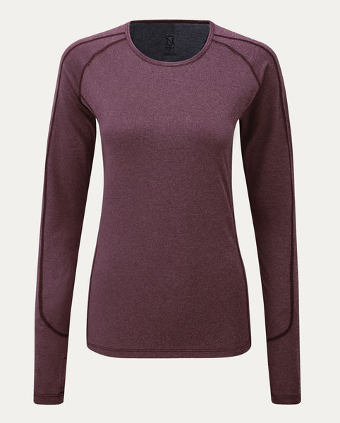 Hailey Long Sleeve Crew in Wine Heather