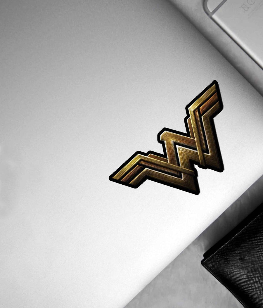 Metallic Wonder Woman Logo - Stickon Small