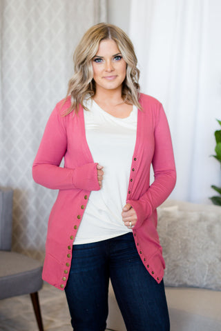 Snap Cardigan (Mid) - Rose