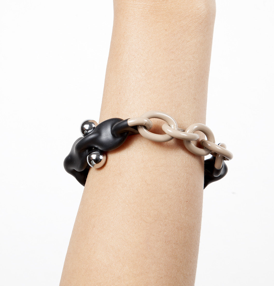 MENTOS BRACELET BLACK AND TAUPE