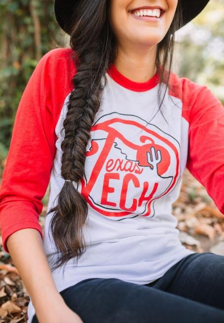 Texas Tech Cactus Baseball Sleeve Tee - shoplivylu  - 1
