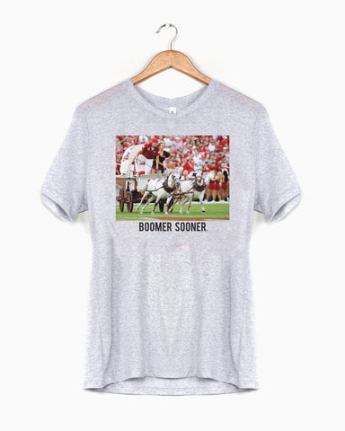 OU Western Stamp White Sueded Tee