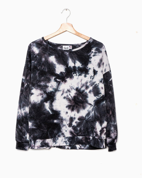 Charcoal Tie Dye Lightweight Sweatshirt & Short Set