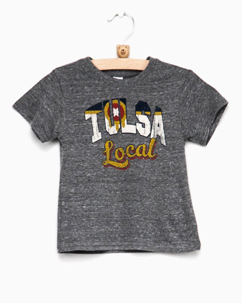 Children's Tulsa Local Flag Gray Tri-blend Tee (1399803281511)