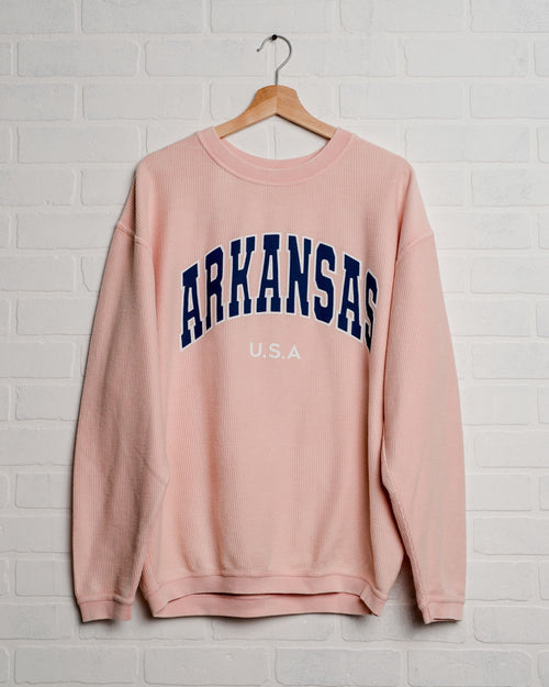 Arkansas USA Filled Gault Pink Corded Crew Sweatshirt
