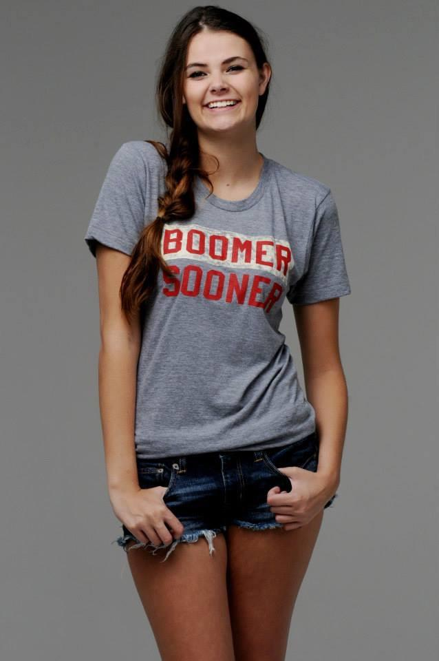 Boomer Sooner Block Art Gray Tee - shoplivylu  (1893385348)