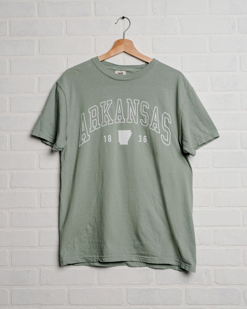 Arkansas Preppy Bay Comfort Colors Tee with White Letters