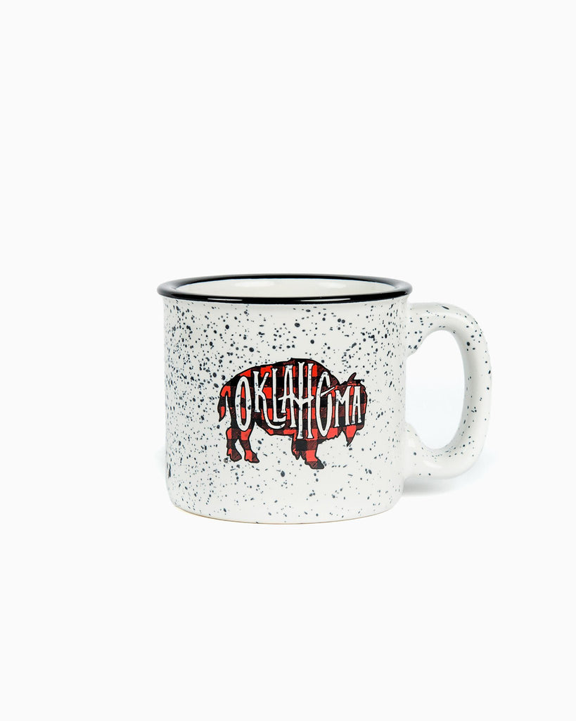White Campfire Plaid Bison Mug - shoplivylu  (9550136015)