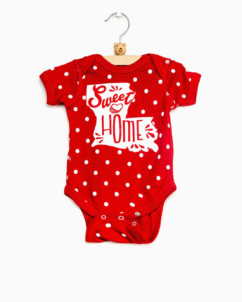 Children's Sweet Home Louisiana Red Polka Dot Onesie