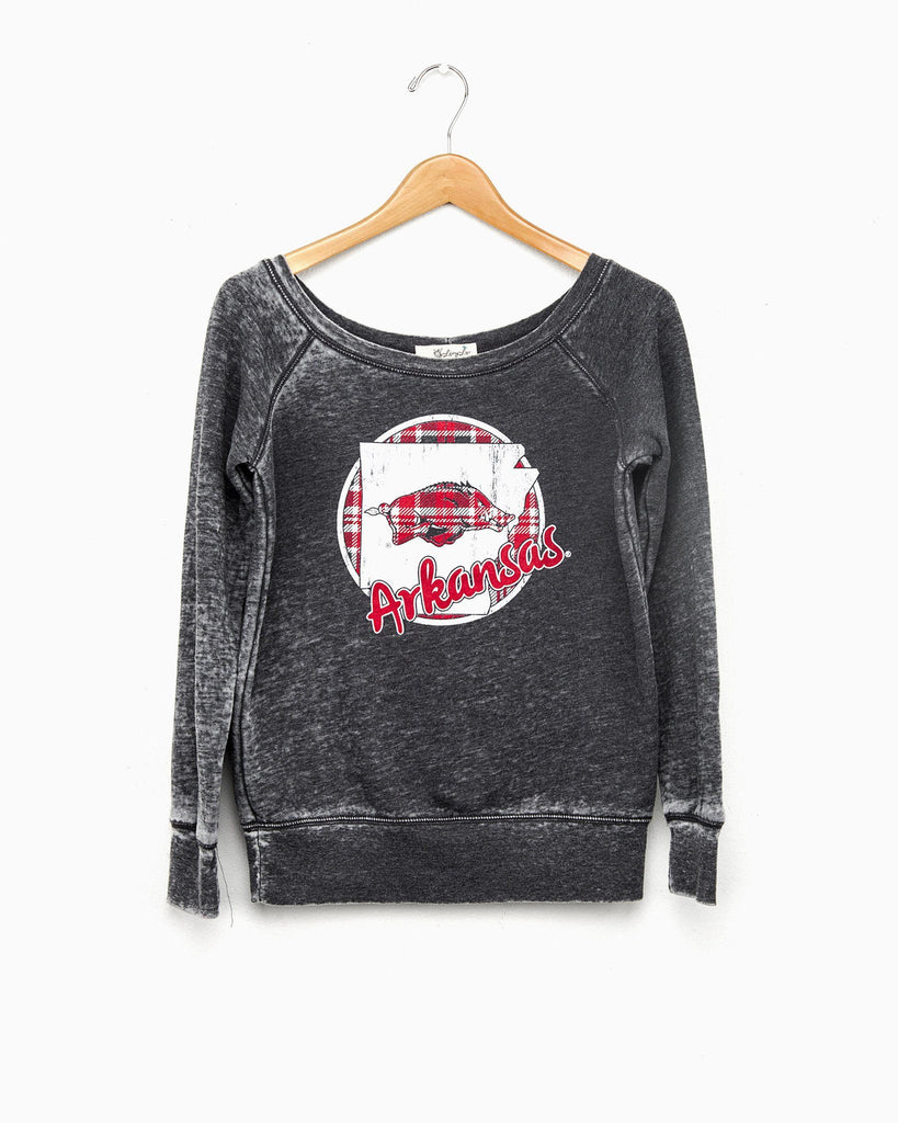 Arkansas Plaid Circle State Acid Washed Sweatshirt (FINAL SALE) (4541128900)