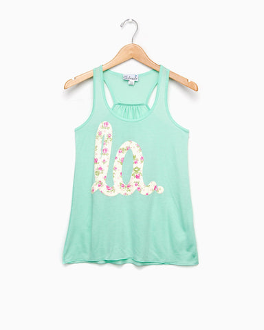 Louisiana LA all over floral coral tank (FINAL SALE)
