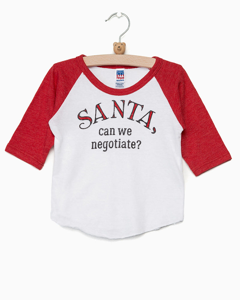 Children's Santa, Can We Negotiate? Red Baseball Sleeve Tee (FINAL SALE) (203809652764)