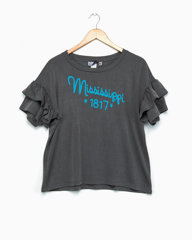 Mississippi Inn Navy Ruffle Sleeve Tee (FINAL SALE)