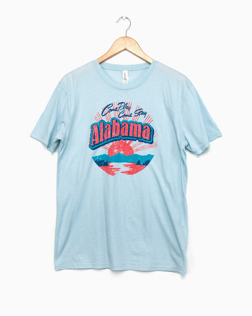 Alabama Postcard Chambray Blue Pigment Dyed Tee (FINAL SALE)