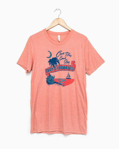 South Carolina Postcard Chambray Blue Pigment Dyed Tee (FINAL SALE)