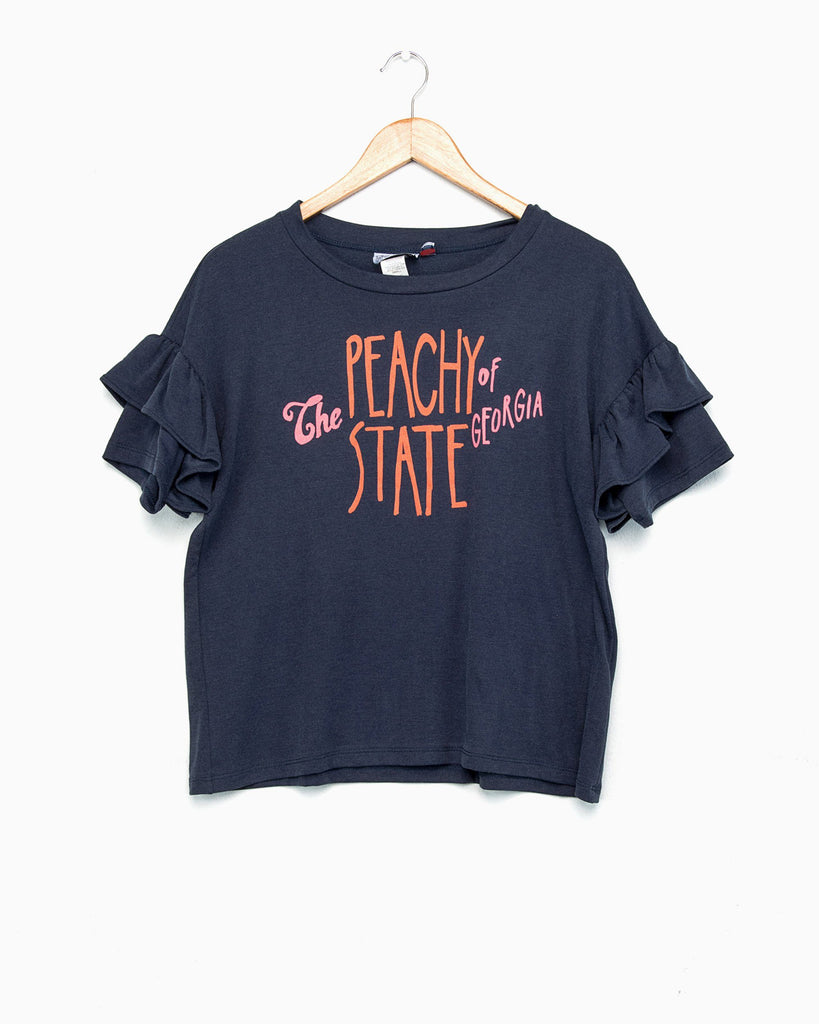Peachy State Siren Navy Ruffle Sleeve Tee (FINAL SALE)