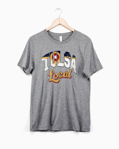 Oklahoma Plaid Bison Gray Tee