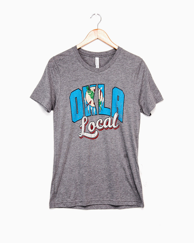 Okla Local Flag Gray Tri-Blend Tee