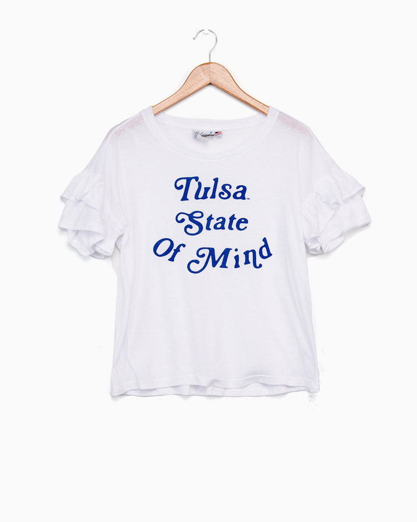 Tulsa State of Mind White Ruffle Sleeve Tee (FINAL SALE)