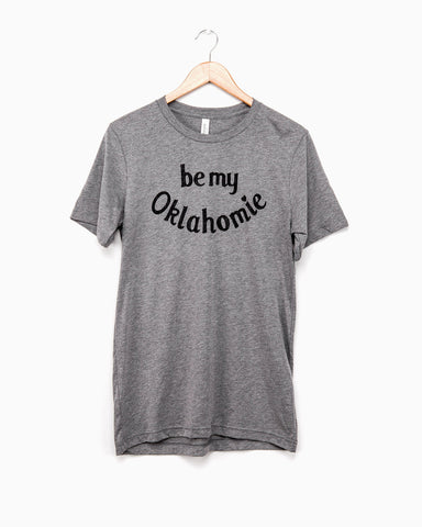 Be My Oklahomie Gray/White Stripe Plush Terry Sweatshirt