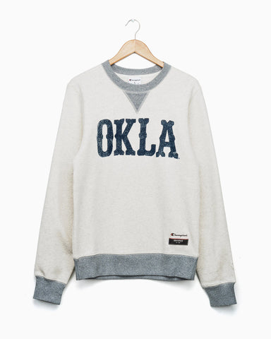 Tulsa Western Stamp Oatmeal Champion Sweatshirt (Red Letters)
