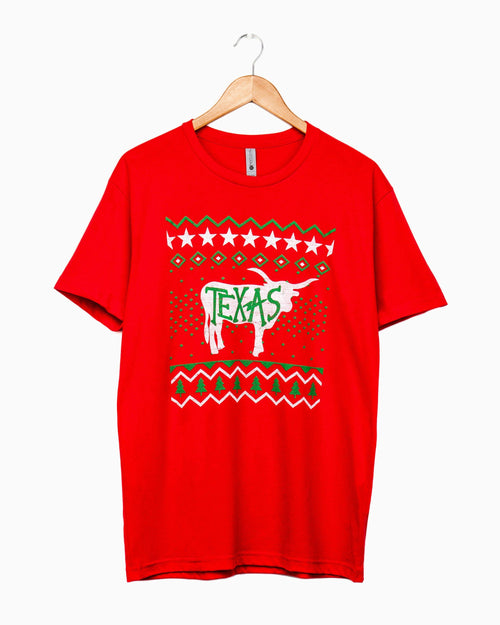 Texas Sweater Red Longhorn Tee (1566790680679)