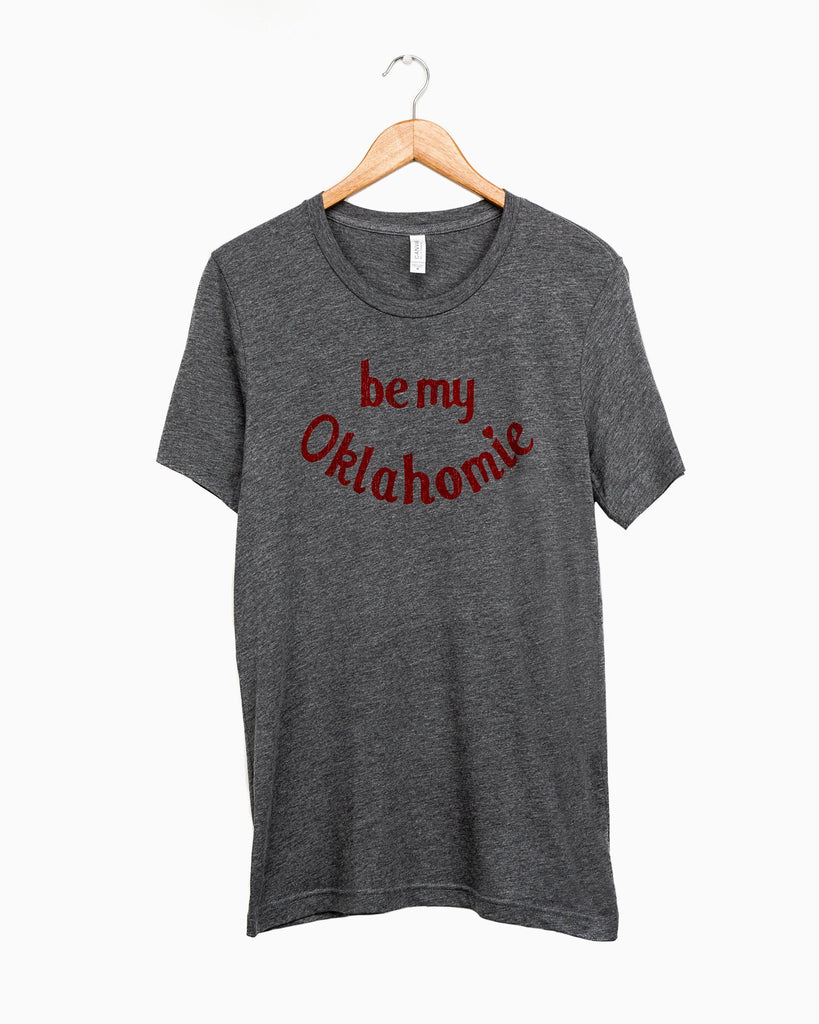 Be My Oklahomie (Red Ink) Gray Tri-Blend Tee