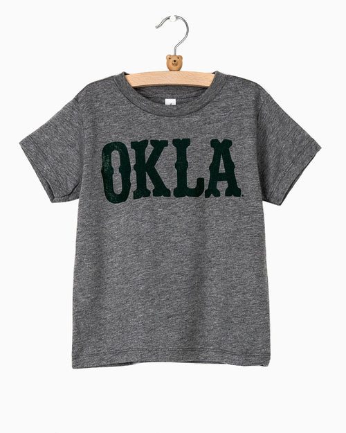 Children's OKLA Western Stamp Gray Tee (Green Letters) (1942556934247)