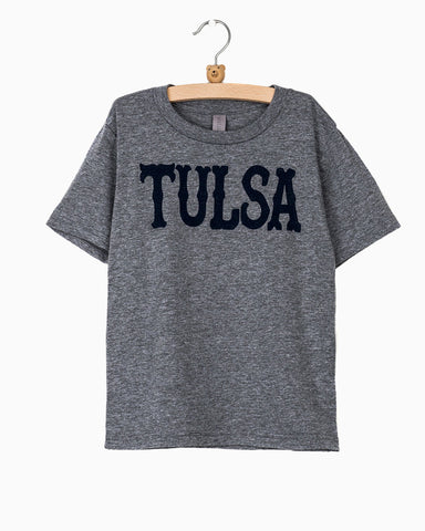 Oklahoma City Retro Script Flocked Navy Comfort Colors Sweatshirt (Orange Letters)