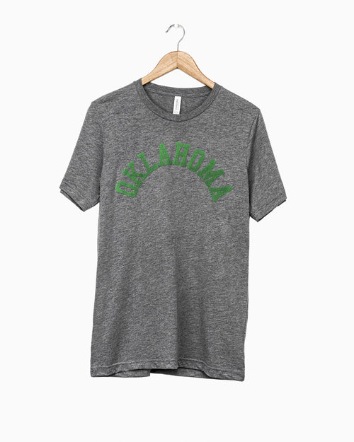 Oklahoma Flocked Gray Tri-Blend Tee (Green Letters) (1950340972647)