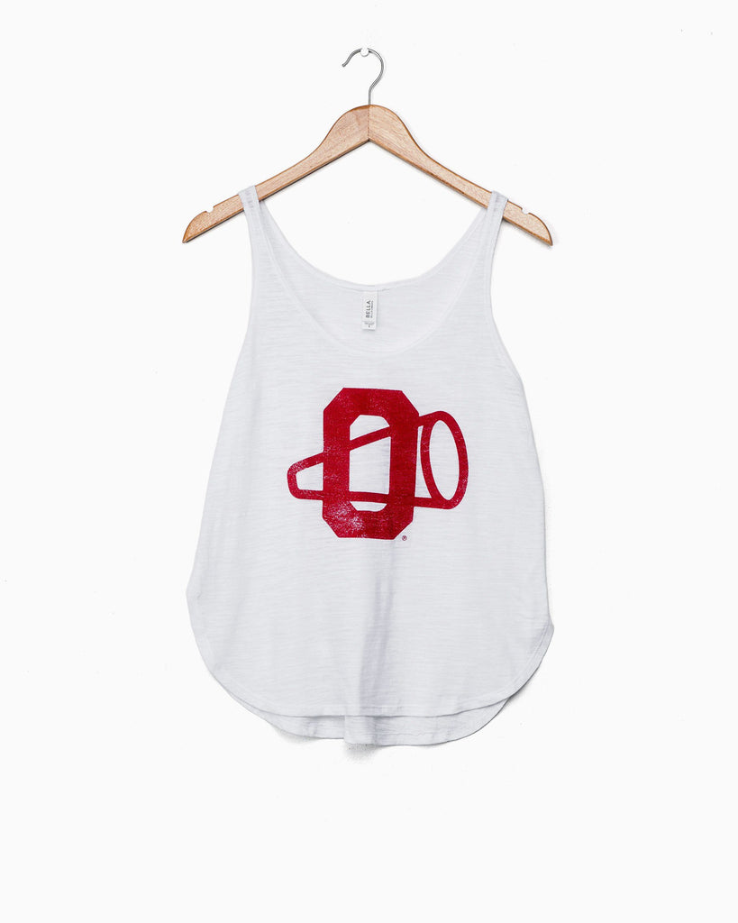 OU Megaphone White Side Slit Tank