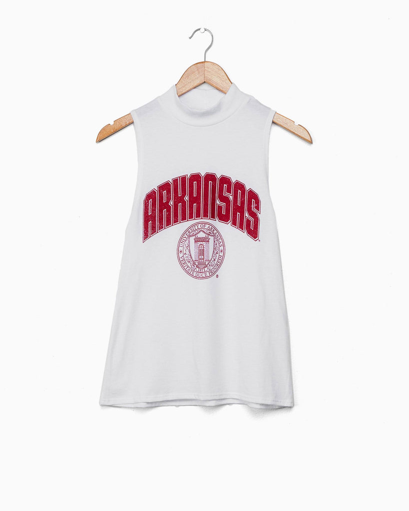 Arkansas Seal White Mock Neck Tank